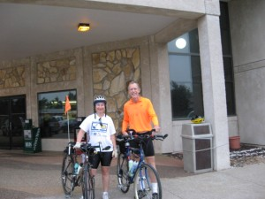 Carol Pandak with Bob Keegan during his bike ride across the United States in support of polio eradication