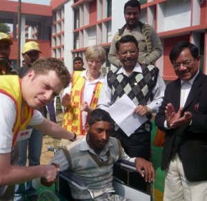 Delivering wheelchairs in India