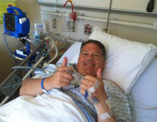 Scott Dudley after kidney procedure