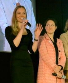Peace Fellow Anne Riechert speaks during a panel at the peace forum in Berlin.