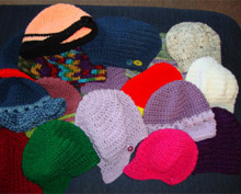 A few of the hats distributed to school children.