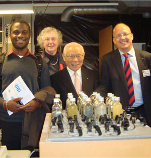 RI President Sakuji Tanaka (second from right) visits a lab at UNESCO-IHE in Delft, The Netherlands, in November. From left are Kaycee Okoli, a Rotary Scholar from Nigeria; Titia Jonkman, spouse of governor Nico Jonkman of District 1600; and Henk Jaap Kloosterman, the district's UNESCO-IHE coordinator.