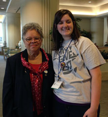 Interactor Haley Lavergne, left, meets with Sylvia Whitlock, the first female president of a Rotary Club in 1987.