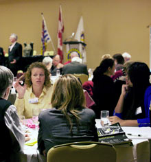 Interactors and Rotarians discuss bullying and gang violence during the peace forum.
