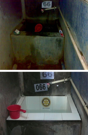 Before and after shots of tubs installed with white tile. The tile costs US$25, and also helps motivate homeowners to take other actions to eliminate mosquito breeding grounds.