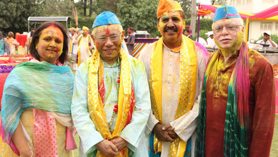 RI President Sakuji Tanaka (second from left) takes part in a Holi festival 27 March, organized by Rotarians in District 3010 (Union Territory, India) during a visit to the district. Holi is a festival of colors celebrated by Hindus mainly in India and Nepal.