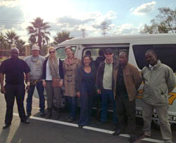 Stéphanie Tobler Mucznik and the film crew in South Africa.
