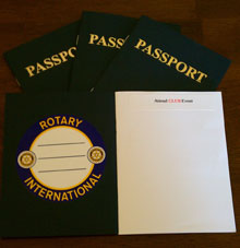 "Misha Garafalo created passports for her club members to fill with ""visa"" stamps of their service activities."