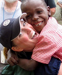"""Mary Berge on a service project in the Dominican Republic. """"Rotary service makes me happy,"""" Berge says."""
