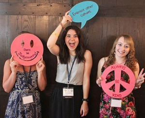 Youth Exchange and Interactors use words that encourage peace during a district conference activity.