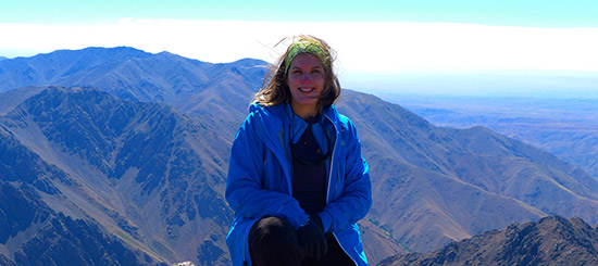 Amelie Zegmout atop Toubkal Mountain in Morocco earlier this year. Photo courtesy Amelie Zegmout