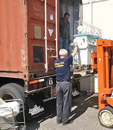 Rotarians in British Colombia, Canada, load medical and dental supplies to be shipped to Chile. Photo courtesy Chris Offer