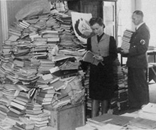 Archive photo of books looted by the Nazis during World War II.