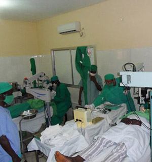 The vocational training team assists with cataract surgeries during the eleventh day of the trip.