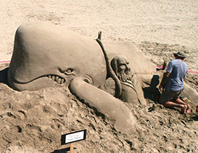 "Sand sculpture of Moby Dick. Photo by Jim ""Woody"" Woods"