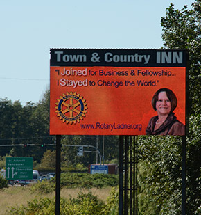 A digital billboard advertises Rotary near the George Massey Tunnel in Vancouver, Canada.
