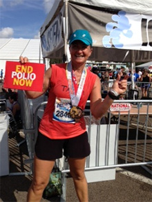 Tanya Wolff at the end of a marathon.