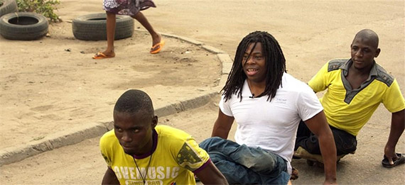 Ade Adepitan with other polio survivors in Nigeria.