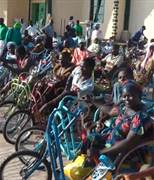 Tricycle wheelchair recipients at The Beautiful Gate Handicapped People Center in Jos, Nigeria