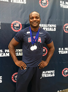Dennis Ogbe with two gold medals during the 2012 National Trials in Indianapolis, Indiana, USA.