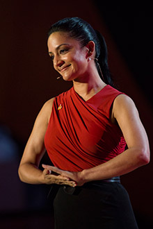 Archie Panjabi addresses the 2013 Rotary International Convention.