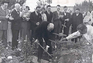 Paul Harris plants a tree in Santiago, Chile.  On this trip, Harris also planted trees in Callao and Lima, Peru; Bogotá, Colombia; Valparaiso, Chile; Buenos Aires, Argentina; Rio de Janeiro and São Paulo, Brazil