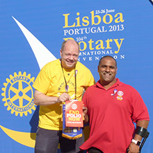 Paul Wilson hangs with polio survivor Ramesh Ferris during the Rotary International Convention in Lisbon, Portugal.