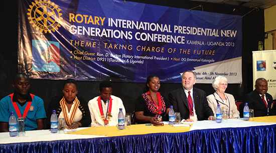 RI President Ron Burton and his wife, Jetta, (second and third from right) at the Presidential New Generations Conference in Uganda.