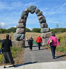 The stone arch has become  a signature icon of the new arboretum in Milwaukee, Wisconsin, USA. Photo courtesy Rotary Club of Milwaukee