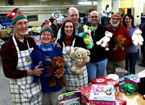 Rotarians deliver Christmas gifts in Lac Megantic. Photo courtesy of Marty Helman