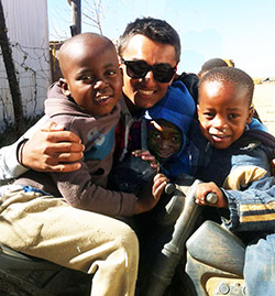 Zaahidali Nathu with children at the Refilwe orphanage near Johannesburg, South Africa.