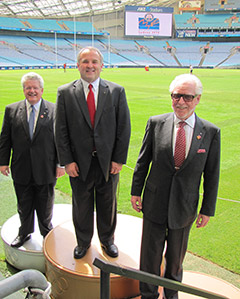 Convention Committee Chair Mark Maloney, RI President Ron Burton, and Committee Vice-Chair Barry Matheson at ANZ stadium.