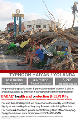 Above, devastation left by the Typhoon. Below, a flyer advertising the club's project.