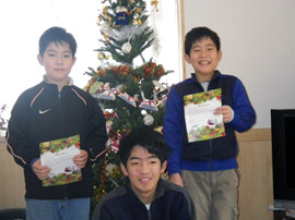 Masaya and Tomoya with their letters from Santa