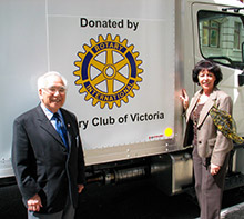 Rotary members in Victoria, British Columbia, Canada, celebrated their centennial by financing a truck lease for the local food bank.