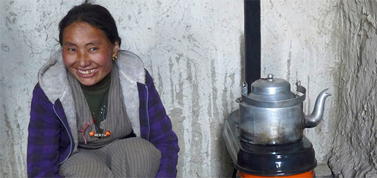 A woman and her clean-burning cook stove.