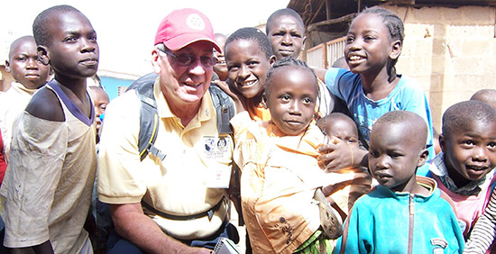 Ken Hughes, a member of the Rotary Club of Burlington, Kansas, USA, during the immunization trip. Photo courtesy 2012 NID Team