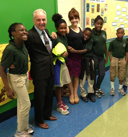 Don Messer with students from Stanton Elementary School in Washington, D.C.