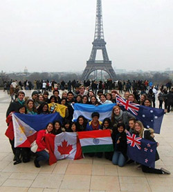 Rotary Youth Exchange students from several countries in Paris.