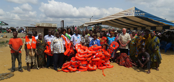 Donated life jackets in Abidjan, Cote d'Ivoire.