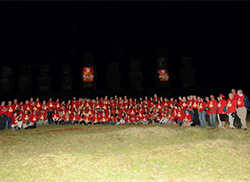 The crew of 45 Rotary members and 70 Youth Exchange students.