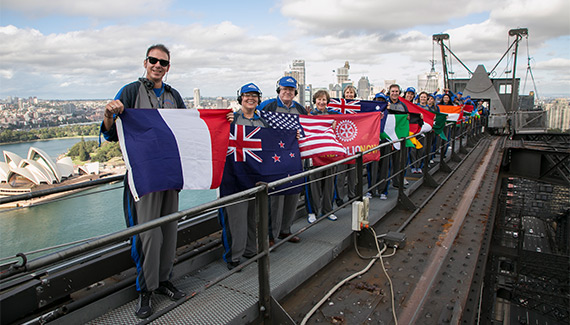 Rotary members from all over the world on top of the Harbor Bridge in Sydney, Australia.