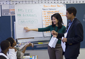 Students in Washington, D.C., USA, learn basic legal concepts from the Street Law curriculum.