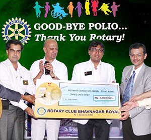 The Rotary Club of Bhavnagar, Gujarat, India raised $7,500 for polio eradication through album sales of Gujarati Gazals.