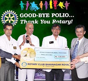 The Rotary Club of Bhavnagar, Gujarat, India raised $7,500 for polio eradication through album sales of Gujarati Gazals.