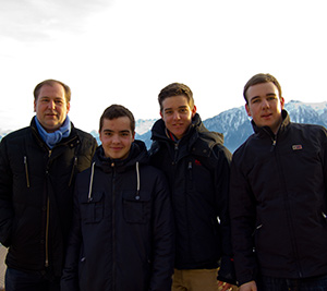 From left, Tobias Kirchoff, La Cossa's host in Germany, La Cossa, Philipp Kirchoff, and Julian, a youth exchange student from Taiwan during a trip to Switzerland.