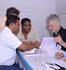 Specialists on the vocational training team review patient reports.
