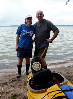 Ken Robertshaw and Grace Alsancak during a stop in the kayaking challenge.
