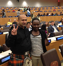 Kiran Singh Sirah at the United Nations during International Day of Peace.
