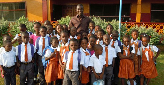 Samuel Enders with students from the African Dream Academy.